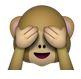 Affe hält sich die Augen zu