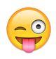 Emoji streckt die Zunge raus und zwinkert