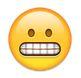 Grinsender Smiley zeigt Zähne