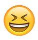 Smiley kneift Augen zu