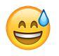 Lachender Smiley mit Schweiß Tropfen