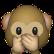 Affe hält sich den Mund zu