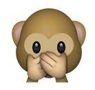 Affe hält sich Mund zu (Smiley)