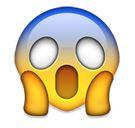 Emoji mit blauer Stirn und offenem Mund
