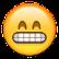 Smiley lacht und zeigt Zähne