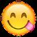 Smiley streckt Zunge an der Seite raus