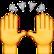 Zwei Hände mit grauen Pfeilen