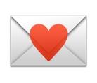 Smiley mit Brief und rotem Herz